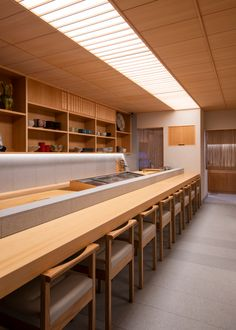 Paper Crane is a minimalist renovation of a coffee shop located in Hyogo, Japan, designed by CASE-REAL Japanese Restaurant Design, Small Restaurant Design, Restaurant Plan, Sushi Bar Design, Japanese Bar, Japanese Hot Springs, Industrial Kitchen Design, Sushi Restaurants, Small Restaurants