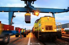 A freight train is loaded at the Port of Rotterdam. Photo credit: Port of Rotterdam