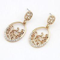 2015 nueva moda moda flor del hueco pendientes oro Stud pendientes mujer y accesorios de la joyería Brincos Grandes venta al por mayor