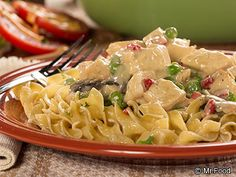 Chicken a la King in a Hurry - You can make this fancy-looking dinner recipe in just 15 minutes! This dish is full of creamy chicken and pasta goodness.