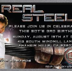 Do you have a bot who is OBSESSED with the movie Real Steel!  Have we got the invite for you!  Our designers created this custom 3rd birthday invitation for the son of one of our employees who LOVES the movie Real Steel starring Hugh Jackman. We love custom jobs like this that give us new & fun ideas to create something completely unique and amazing!  Check this out & more at www.delightinvite.com
