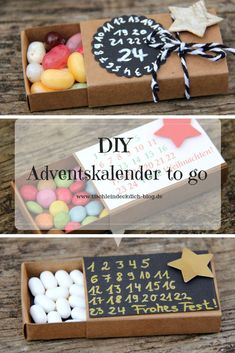 This is fix No. 23 - Advent calendar to go - table cover yourself - Advent calendar in mini format, quickly made from small matchboxes, it is even faster with the free - Diy Birthday, Birthday Gifts, Homemade Gifts, Diy Gifts, Christmas Gifts, Xmas, Presents For Kids, Business Gifts, Graduation Gifts