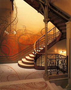 In scientist Emile Tassel's Brussels home, this staircase was designed and built in 1893 by the great Nouveau and Deco designer and architect Victor Horta, who also designed other parts of the house - which is generally considered the first true Art Nouveau building.