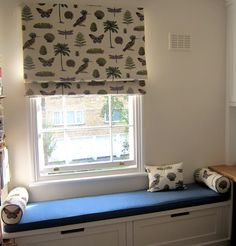 Roman blind in Sanderson Cocos Bright, and coordinating window seat in Warwick Slubby Linen, colour Copen. Roman Blinds, Home Furnishings, Nursery, Windows, Bright, Curtains, Colour, Kitchen, Home Decor