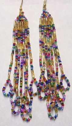 "Rainbow Gold 4"" Dangles Seed Bead Earrings Native Style Hand Beaded in USA"