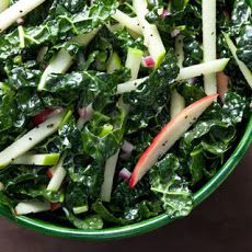 Coleslaw isn't just a summer side dish. Replace traditional green cabbage with a hearty winter green like kale, then pair with cool-weather apples and a sweet-tart dressing. This kale-apple coleslaw recipe from CHOW can be made up to 1 day in advance, Kale Recipes, Side Dish Recipes, Real Food Recipes, Side Dishes, Vegetarian Recipes, Healthy Recipes, Yummy Food, Primal Recipes, Veggie Dishes