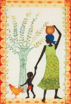 Mother, Child and Chicken - Cross Stitch Kit