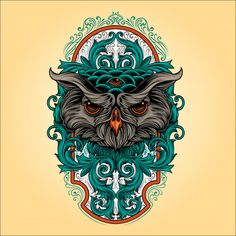 Owl ornament Premium Vector | Premium Vector #Freepik #vector #flower #vintage #design #ornament Owl Ornament, Ornaments, Black Panther Tattoo, Tattoo Posters, Owl Head, Owl Vector, Owl Illustration, Retro Arcade, Abstract Animals