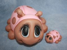 Handpainted Ceramic Pink and Brown or Red and Black Ladybug Baby Laying Made to Order