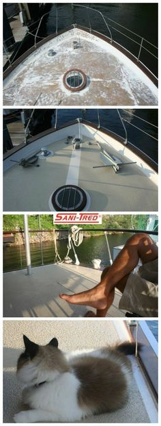Boat Deck Coating & Repair . Do it yourself with the Sanitred's flexible rubber membrane liquid applied decorative & seamless coating. Deep penetration, forever flexible while curing as tough as vehicle tires!