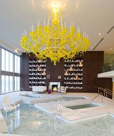 Spa at Viceroy Miami by Philippe Starck. Love the idea of a colored chandelier.