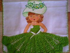 Pano de prato  de algodão  Pintado à mão  Vestido de crochê  ...