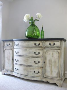 SOLD - Hand Painted French Country Cottage Chic Shabby Romantic Vintage Distressed Sideboard Buffet Console Cabinet