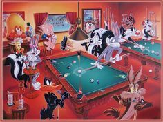 This is one of those collectibles that I consider the most beautiful. It is also extremely hard to find. A lithograph featuring Looney Tunes characters playing pool. It is sold under various titles, in most cases American Billiards or At The Pool Table.  honeybunnyworld.com