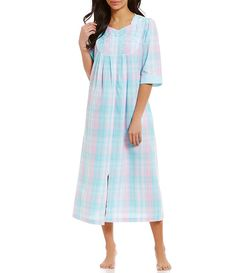 3e7cd8e587 Miss Elaine Plaid Seersucker Zip Robe