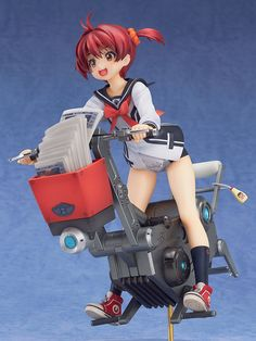 "**Out on a newspaper delivery run with Wanko! Vroom, vroom! ♪**  ""Friendship is the key to saving the world"""" in the popular anime series Vivid Red Operation, and from that series comes this 1/8th scale figure of the energetic and cheerful main character, Akane Isshiki! The pose is based on a key visual illustration of Akane out on her part-time job as a newspaper delivery girl, riding 'Wanko',..."