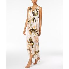 Sangria Chiffon Floral Faux-Wrap Maxi Dress ($89) ❤ liked on Polyvore featuring dresses, honeysuckle, chiffon maxi dress, white chiffon dress, flower dress, floral dresses and maxi dress