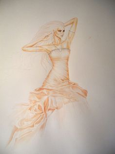 Olivier Bernard Drawings Fashion Illustrations, Fashion Sketches, Olivier Bernard, Drawing Stuff, Fairytale, Ruffles, Art Drawings, Projects To Try, Arts And Crafts