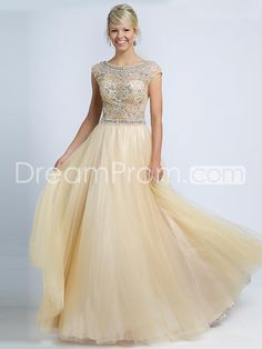 A-line/Princess Scoop Sleeveless Beading Floor-length Tulle Dresses