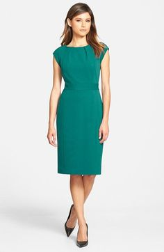 Green cap sleeve sheath dress