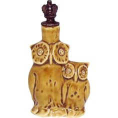 Vintage Pair of Owls German Crown Top Figural Perfume Bottle from charmalier on Ruby Lane