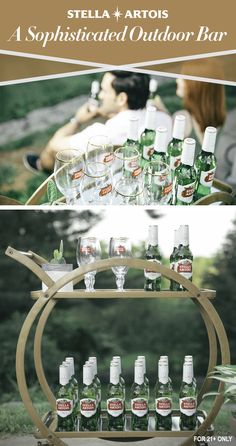 An unwritten rule of being an immaculate host is making sure your guests are comfortable enough to help themselves. If you're hosting outdoors this summer, switch up your cooler with a modern mid-century bar cart to bring your drinks outside. Making sure your guests know where to find a Stella Artois in a simple, yet elegant manner can effortlessly help you host one to remember.