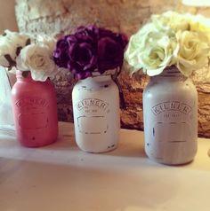 Items similar to Jar Vase : Hand Painted Shabby chic / vintage -choose from pastel colours or cow print- kilner jar, mason jar, ball jar. Kilner Jars, Ball Mason Jars, Shabby Chic Jars, Painted Mason Jars, Flower Vases, Flowers, Cow Print, Jar Crafts, Decorating Tips