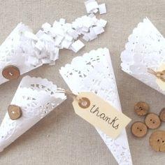 Handmade Paper Doily Wedding Confetti Holders - A fun alternative to throwing rice!