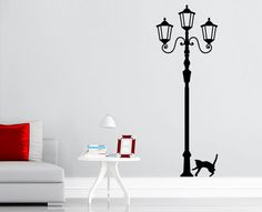 Wandtattoo Wandaufkleber Haustier Geschenk Wohnzimmer Katze an Straßenlaterne