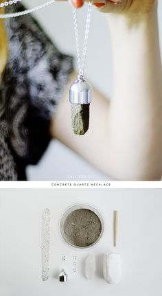 Fall For DIY How To Concrete Quartz Necklace