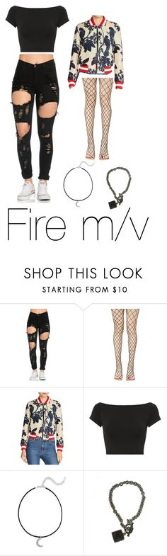 """""""Fire m/v"""" by trashlogic ❤ liked on Polyvore featuring Leg Avenue, Maje, Helmut Lang and Saks Fifth Avenue"""