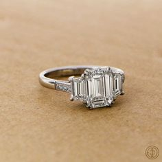 Vintage Emerald Cut Diamond Ring - Certified by the GIA - Estate Diamond Jewelry - Platinum mounting - VS1 clarity - Engagement Ring on Etsy, $35,433.51 AUD