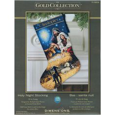 The Holy Night stocking counted cross stitch kit by Gold Collection includes every thing you need to create a beautiful holiday decoration to be enjoyed for years to come. The kit includes a full alphabet for name personalization.