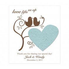 Love Bird Plantable Favor Cards w/Envelopes