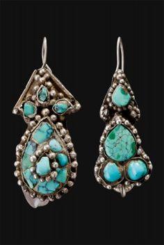 turquoise earrings Ekbor Tibet ca1900
