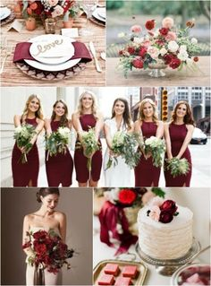 Marsala colored wedding. Great for fall or winter