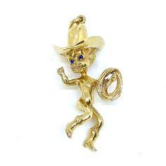 "Highkarat on Instagram: ""Super cute cowboy cherub pendant charm by Ruser. 🤠 Check out our new arrivals @highkarat . . . #ruser #original #cowboy #cherub #cowboyhat…"" Sapphire Eyes, Blue Sapphire, Cherub, Gold Earrings, Cowboy Hats, Charmed, Pendant, Shape, Yellow"