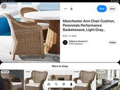 Williams Sonoma, Basket Weaving, Armchair, Dining Room, Cushions, Modern, Sofa Chair, Throw Pillows, Single Sofa