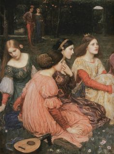 LARGE SIZE PAINTINGS: John William WATERHOUSE The Decameron 1916 (Detail)