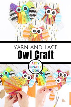 Looking for easy owl crafts for kids to make at home or school? These paper owl crafts for kids are made with lace wrapping   yarn weaving, so they're great fine motor skills activities   are simple enough for preschool children. Get printable craft templates for these fall yarn crafts for kids here! Animal Crafts for Kids | Fun Yarn Crafts for Kids Weaving Projects | Paper Lacing Crafts for Kids | Autumn Crafts for Kids | Fall Crafts for Kids | Owl Crafts for Preschoolers #OwlCrafts… Paper Animal Crafts, Sea Animal Crafts, Animal Crafts For Kids, Owl Crafts, Yarn Crafts For Kids, Easy Fall Crafts, Easy Arts And Crafts, Toddler Crafts, Craft Activities For Kids