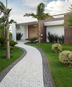 Palm Trees Landscaping Front Yard Landscaping Landscaping Ideas Farm Houses Big Houses Driveway Design Front Yards Casa Linda Mansions Homes Modern Garden Design, Backyard Garden Design, Garden Landscape Design, Modern Landscaping, Outdoor Landscaping, Front Yard Landscaping, Landscaping Ideas, Patio Ideas, Design Exterior