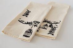 Stenciled tea towels studio 5