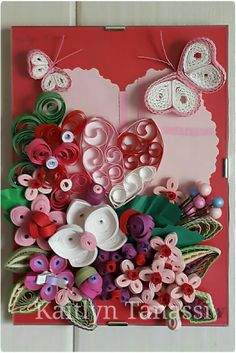 Quilled Heart with Flower Arrangement on a glass frame ~ May 2016 by The Quilling Fairies (Junior Edition) - Facebook. Please visit our page and share if you like! ♡