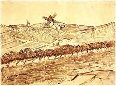 Vincent van Gogh Drawing, Pencil, reed pen, brown ink Arles: July, 1888 Van Gogh Museum Amsterdam, The Netherlands, Europe F: 1496, JH: 1496 Image Only - Van Gogh: Landscape with Alphonse Daudet's Windmill
