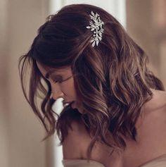 DREAMER crystal floral hair piece for Art Deco wedding in Elegant Wedding Hair, Wedding Hair Down, Wedding Hair And Makeup, Gown Wedding, Bridesmaid Hair Down, Wedding Cakes, Wedding Rings, Wedding Dresses, Bridesmaid Hair Medium Length