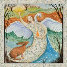Imbolc  2nd February  Brigid Swan Maiden wakes the sleeping winter world.  Her flame sparks new beginnings and inspiration.  A time to make plans. By Wendy Andrew