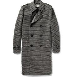 Saint Laurent| Houndstooth Brushed-Wool Overcoat
