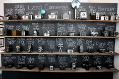 Another possible camera display. Instead of a chalk board background, maybe use a tag tied to the camera (think price tags) or a little business card like description.
