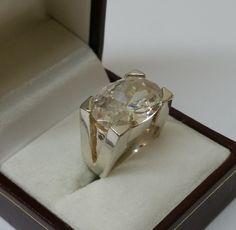 Vintage Ringe - 925er Silberring mit großem Kristallstein SR534 - ein Designerstück von Atelier-Regina bei DaWanda
