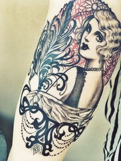 Whitney Lenox Tattoo  http://ohemv.com/january-2014-in-review/  #tattoo #flapper #whitneylenox